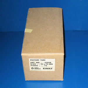 Box Of 72 Culture Tubes Without Lip 12 X 75mm Kimax kimble 45048 Nos