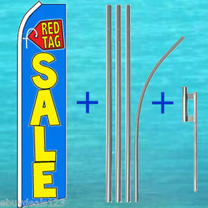 Red Tag Sale Flutter Feather Flag 15 Pole Mount Swooper Bow Banner Sign