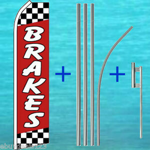 Brakes Red Flutter Feather Flag 15 Tall Pole Mount Swooper Bow Banner Sign