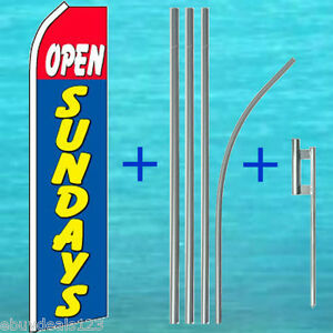Open Sundays Flutter Feather Flag 15 Tall Pole Mount Swooper Bow Banner Sign