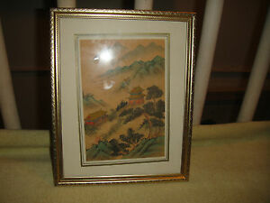 Vintage Chinese Or Japanese Drawing Woodblock Print Stamped Mountains