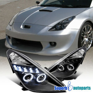 Fit 2000 2005 Toyota Celica Dual Halo Led Projector Headlights Black