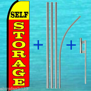 Self Storage Flutter Feather Flag Pole Mount Swooper Banner Advertising Sign
