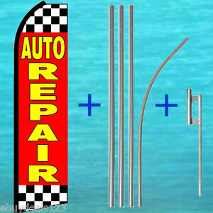 Auto Repair Extra Wide Swooper Flag Pole Mount Kit Feather Swooper Banner Sign