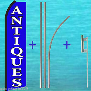 Antiques Flutter Feather Flag 15 Premium Pole Mount Swooper Bow Banner Sign