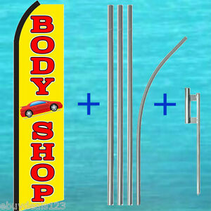 Body Shop Flutter Flag 14 Tall Pole Mount Kit Auto Feather Swooper Banner Sign