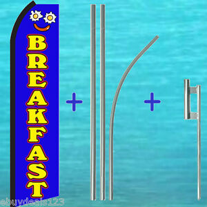 Breakfast Flutter Feather Flag 15 Premium Pole Mount Swooper Bow Banner Sign