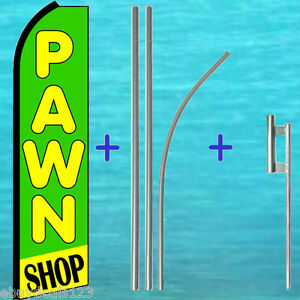 Pawn Shop Flutter Feather Flag 15 Premium Pole Kit Swooper Bow Banner Sign