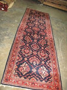 Antique Persian Blue Very Fine Sarouk Hand Knotted Wool Rug Runner 2 11 X 10 2