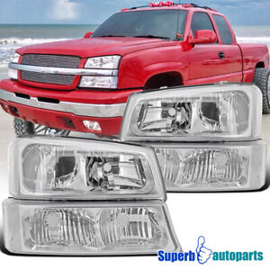 For 2003 2007 Chevy Avalanche Silverado Headlights Clear Bumper Signa Lamps Pair