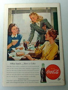 1947 COCA COLA AD THREE YOUNG WOMEN EATING SANDWICHES DRINKING COKE