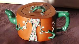 Antique Chinese Crabstock Yixing Zisha Enameled W Prunus Flowers Clay Teapot