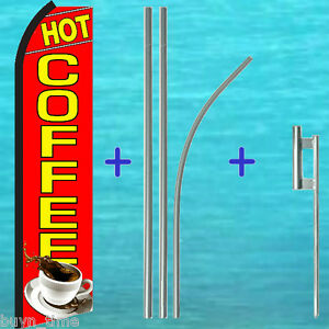 Hot Coffee Red Flutter Feather Flag 15 Tall Premium Pole Kit Swooper Banner
