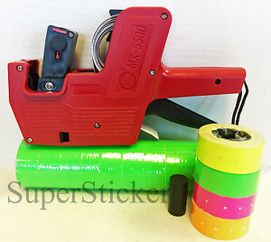 Mx 5500 8 Digits Price Tag Gun Labeler Labeller 5000 Green Labels Free Gift
