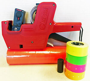 Mx 5500 8 Digits Price Tag Gun Labeler Labeller Plus 5000 Red Labels free Gift
