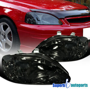For 1999 2000 Honda Civic Ek Ex Lx Si Headlights Head Lamps Smoked