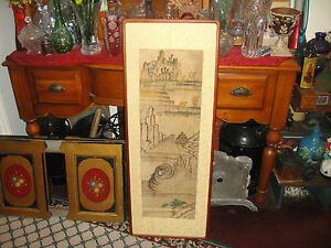 Antique Vintage Chinese Painting Artwork On Silk Fabric Ships Mountains Water