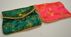 Silk Jewelry Chinese Pouch Bag Roll Assorted Four Dozen Zipper 4 1 2 X 3 1 2