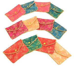 Silk Jewelry Chinese Pouch Bag Roll Assorted Four Dozen 4 1 2 X 3 1 2
