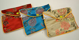 Silk Jewelry Chinese Pouch Bag Roll Assorted Four Dozen Zipper 5 1 2 X 3 1 2