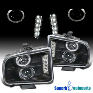 2005 2009 Ford Mustang Led Halo Projector Headlights Black Specd Tuning