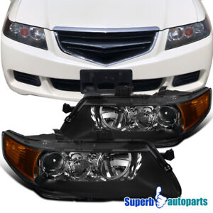 2004 2005 Acura Tsx Sedan 4dr Projector Headlights Head Lamps Black