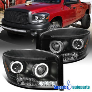 For 2006 2008 Dodge Ram 1500 2500 3500 Led Halo Projector Headlights Black