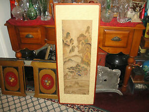 Vintage Chinese Painting Artwork On Silk Fabric Very Large Framed Village Scene