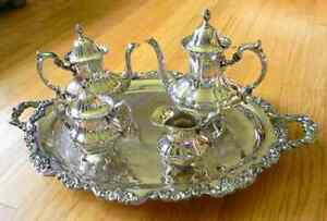 Lancaster Rose Poole Silver Co Holloware Silverplate Coffee Tea Serving Set