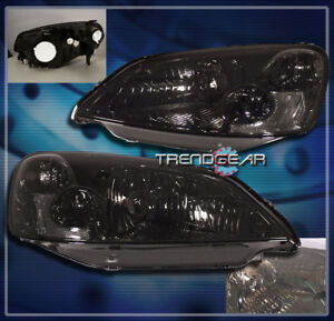 2001 2002 2003 Honda Civic 2 4dr Crystal Headlight Lamp Jdm Smoke Dx Ex Gx Hx Lx