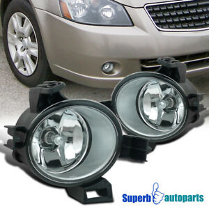 For 2005 2006 Altima Clear Fog Lamps Front Bumper Lights Kit Chrome