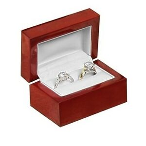1 New Cherry Wood Double Dual Ring Wedding Bridal Engagement Jewelry Gift Box