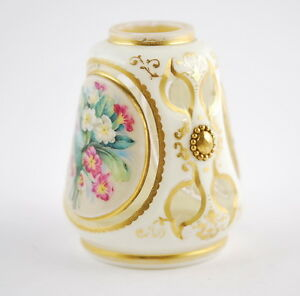 19th C Antique Bohemia Moser Miniature Vase Milk Glass Handpainted Gilt