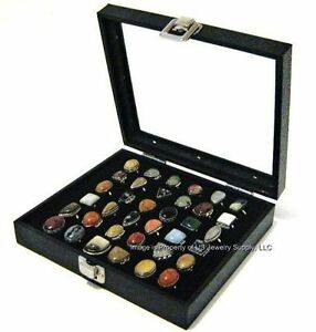2 Wholesale Glass Top Lid Black 36 Ring Display Portable Sales Storage Box Cases