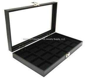 Lot Of 2 Glass Top Black 20 Space Display Cases Jewelry Pins Lures Arrowheads