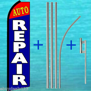 Auto Repair Swooper Flag 15 Tall Pole Kit Vertical Sign Flutter Feather Banner