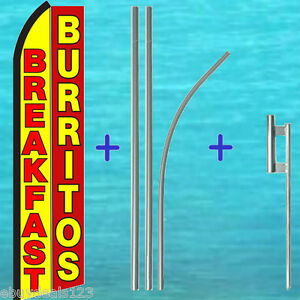 Breakfast Burritos Swooper Flag Premium Pole Kit Flutter Feather Tall