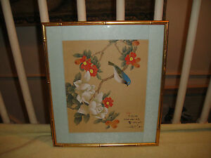 Chinese Or Japanese Drawing Woodblock Print Bluebird Flowers Stamped Signed