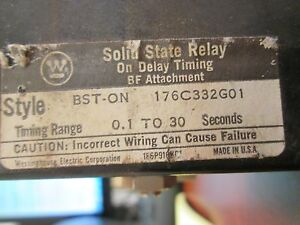 Westinghouse Solid State Relay Bston Range 1 30 Secs 120v Coil Used