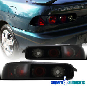 For 94 01 Acura Integra 2dr Glossy Black Dark Smoke Tail Lights Brake Lamps