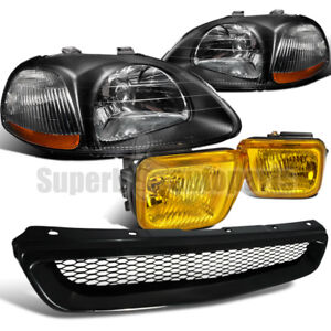 For 1996 1998 Honda Civic Headlights Blk Fog Lights Yellow Hood Grille Black