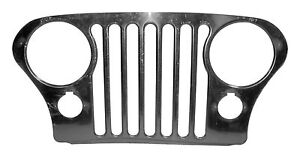 Rt34031 Rough Trail Stainless Steel Jeep Cj Grille Overlay With Chrome Bezels