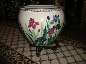 Chinese Pottery Fish Bowl Planter W Stand Painted Flowers Koi Fish Center 2
