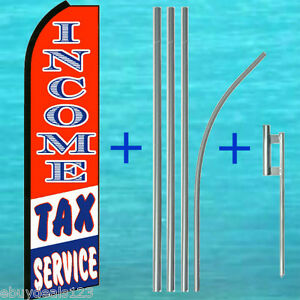 Income Tax Service 15 Tall Swooper Flag Kit Mount Feather Flutter Bow Banner