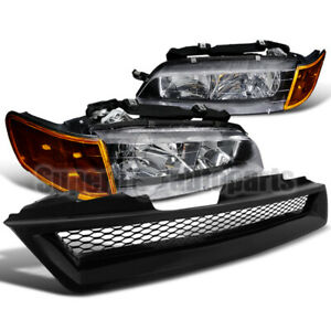 For 1994 1997 Honda Accord 2 4dr Headlights Black Signal Lamps Mesh Hood Grille