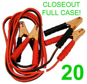 CLOSEOUT FULL CASE! 20 NEW 10 GAUGE 12' JUMPER/BOOSTER CABLES ATV 200 AMP