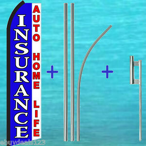 Insurance Auto Home Life Swooper Flag Premium Pole Kit Flutter Feather Banner