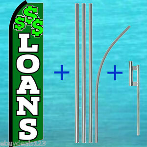 Loans Swooper Flag 15 Tall Pole Kit Flutter Feather Banner Advertising Sign