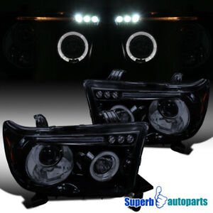 For 2007 2013 Toyota Tundra Sequoia Led Halo Projector Headlights Glossy Black