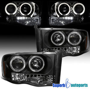 For 2002 2005 Dodge Ram Led Halo Projector Headlights Black Replacement Pair